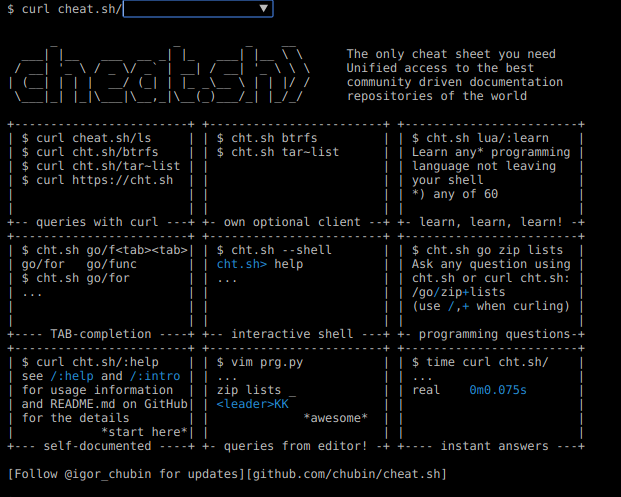 Cheat.sh – ayuda de comandos en línea y desde la línea de comandos