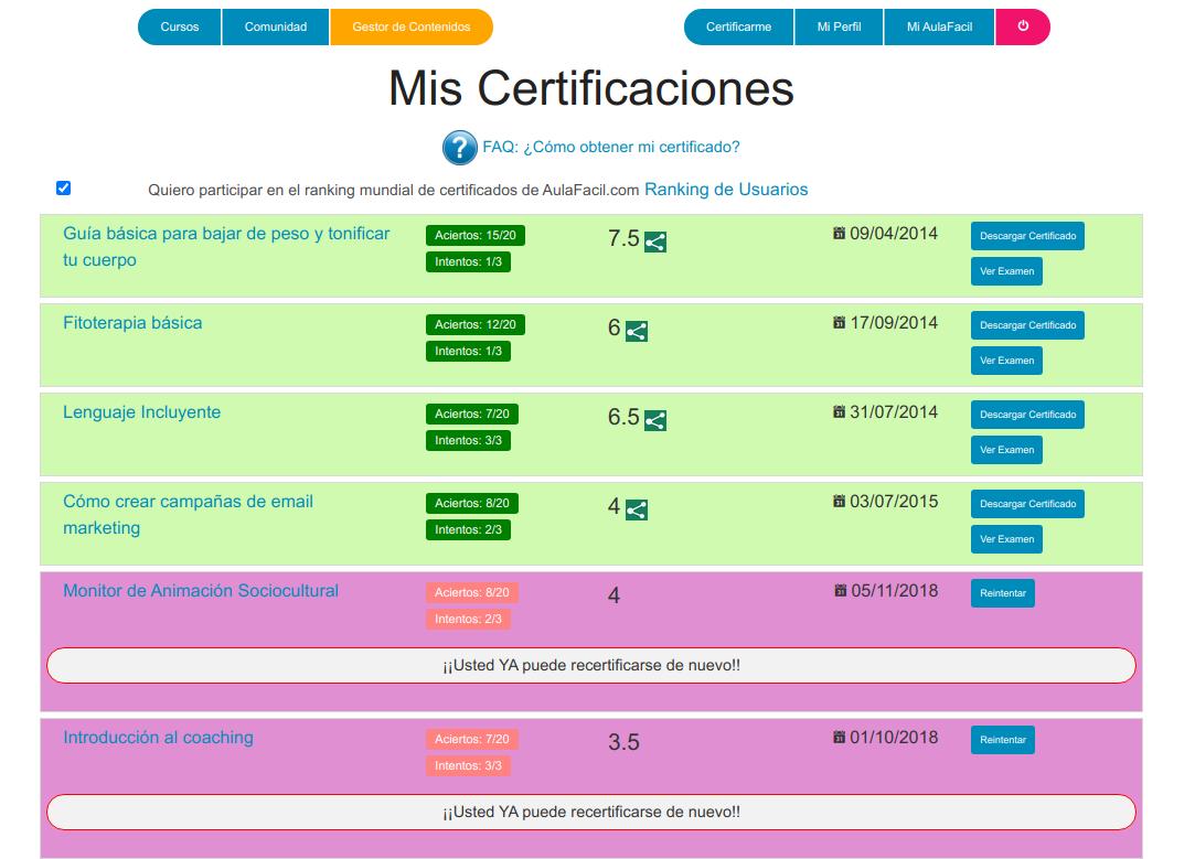Plataforma de certificaciones en Aulafacil.com