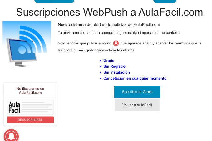 Suscripciones WebPush mediante proveedor OneSignal.com
