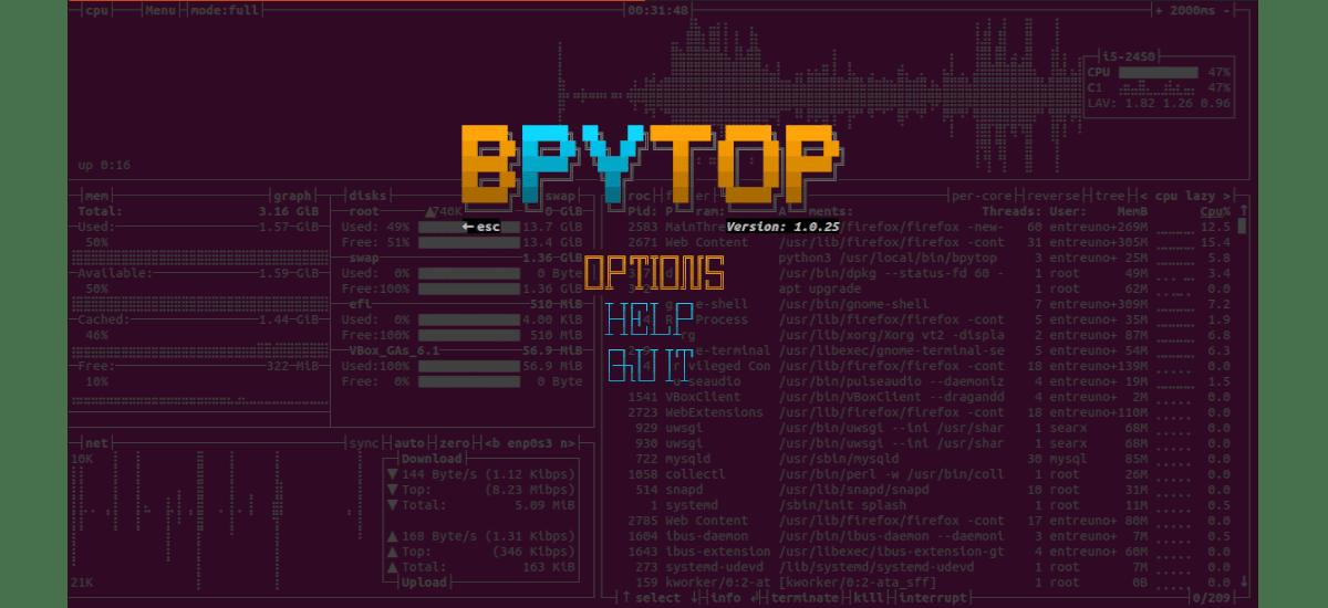 bpytop, monitor de procesos desarrollado en python